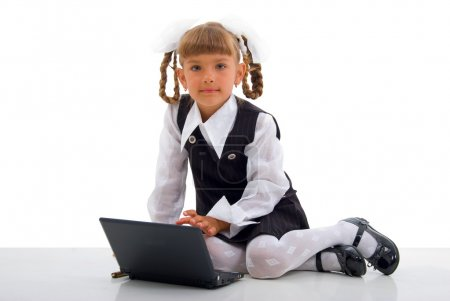 Sitting Schoolgirl And Notebook.