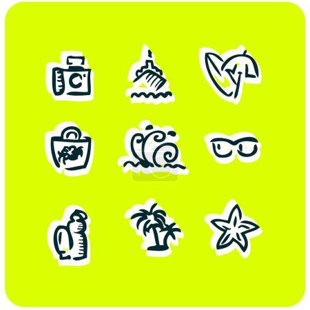 Beach vacation icons set 1
