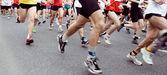 Marathon runners on the run in city
