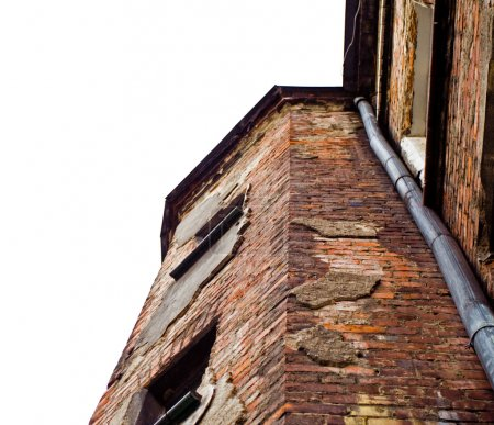 Photo for Damaged old building isolated on white background - Royalty Free Image