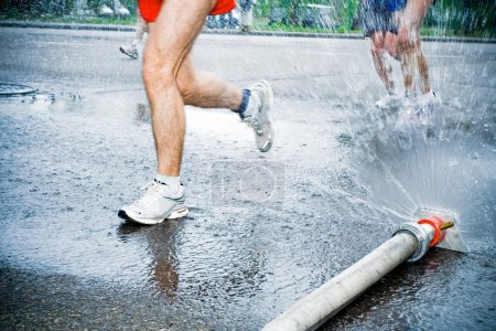 Running in marathon in hot summer