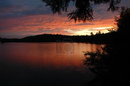 Sunset sunrise over lake