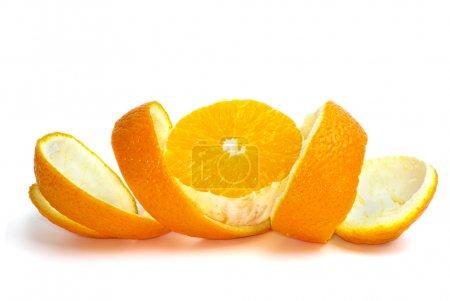 Orange slice over the some peel