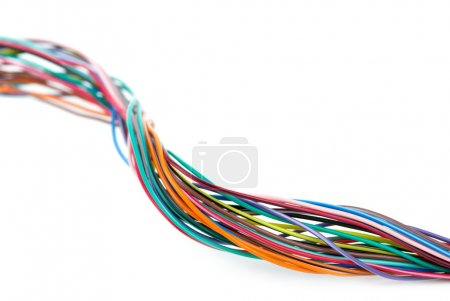 Photo for Close-up shot of different colored wires isolated on the white background. Shallow DOF - Royalty Free Image