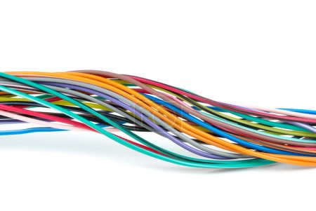 Photo for Bunch of different colored wires isolated on the white background - Royalty Free Image