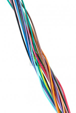 Photo for Different colored wires isolated on the white background - Royalty Free Image