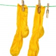 Pair of yellow socks hanging on the rope isolated ...