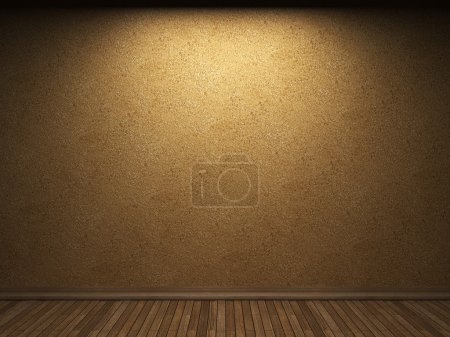 Photo for Illuminated wooden wall made in 3D graphics - Royalty Free Image