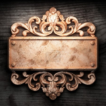 Photo pour Ornement doré sur bois fabriqué en 3D - image libre de droit