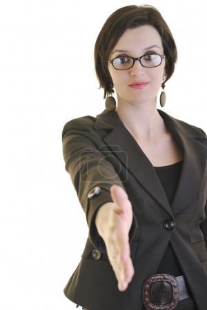Businesswoman handshake isolated