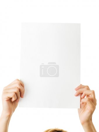 Photo for Woman with blank paper isolated - Royalty Free Image