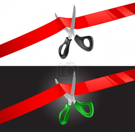 Vector illustration of scissors cutting red ribbon...