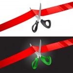 Vector illustration of scissors cutting red ribbon...