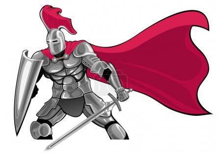 Illustration pour Chevalier blindé avec épée et bouclier - image libre de droit