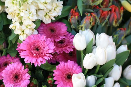 Pink gerbera and white tulips