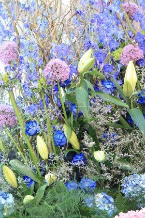 Blue and purple flower arrangement