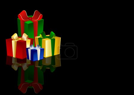 4 colorful Presents on black background