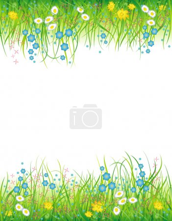 Background with the grass and flowers