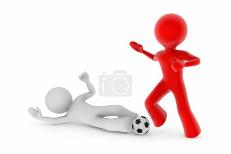 Soccer players; sliding tackle