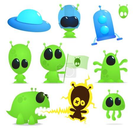 Photo pour Collection de dessins animés extraterrestres, monstres et vaisseaux spatiaux - image libre de droit