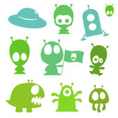 Collection of cartoon aliens monsters and spaceships