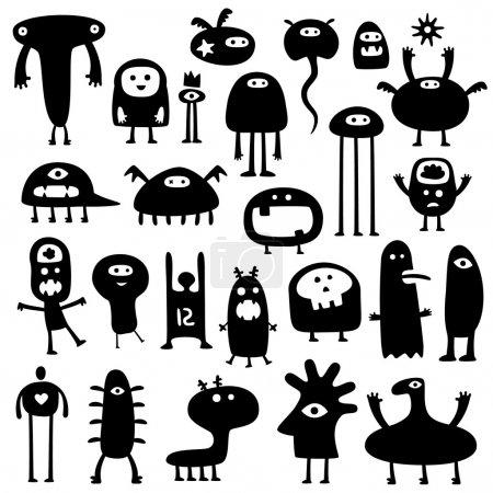 Photo pour Collection de dessins animés monstres drôles silhouettes - image libre de droit