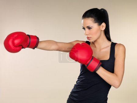 Brunette boxing girl