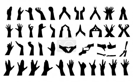 Illustration for 41 human hands silhouettes, elements for your design - Royalty Free Image