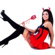 Sexy brunette girl wearing a halloween costume of ...