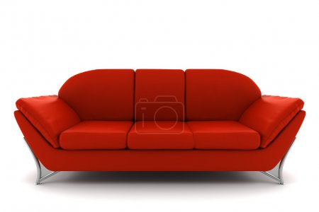 Photo for Red leather sofa isolated on white background with clipping path - Royalty Free Image