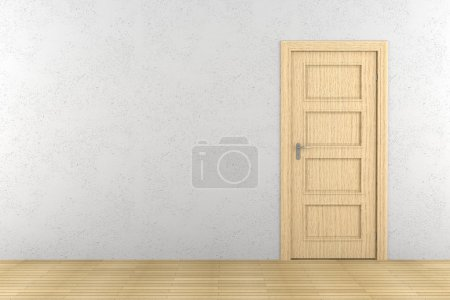 porte en bois marron fermée sur mur blanc