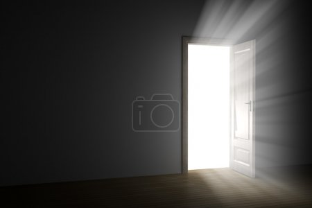 Photo for Bright light through an open door in empty room - Royalty Free Image