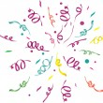 Confetti (light background). vector illustration...