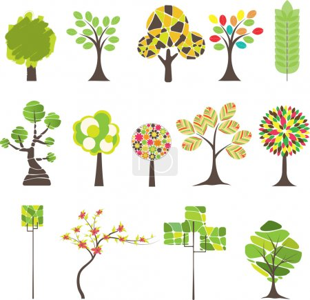 Photo for Set of Colorful tree. Vector illustration - Royalty Free Image