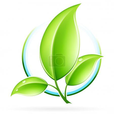 Illustration for Green ecology concept icon with leaf for your design - Royalty Free Image