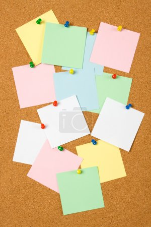 Photo for Cork notice board with blank paper notes - Royalty Free Image