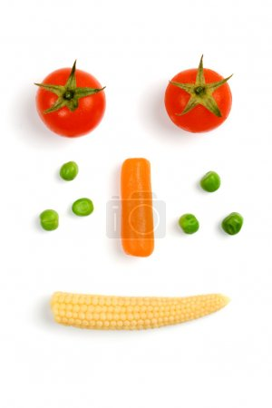Tomato, carrot, green peas and baby corn
