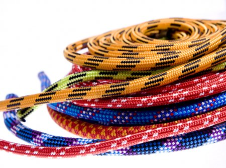 Climbing rope isolated on white