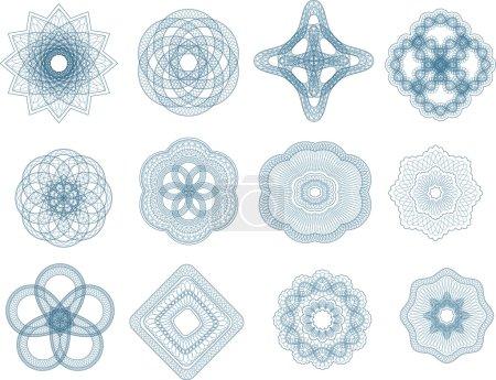 Illustration pour Éléments vectoriels illoches pour diplôme ou sertificat. - image libre de droit
