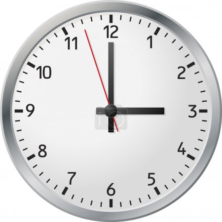 Illustration for White wall clock. Vector illustration. - Royalty Free Image