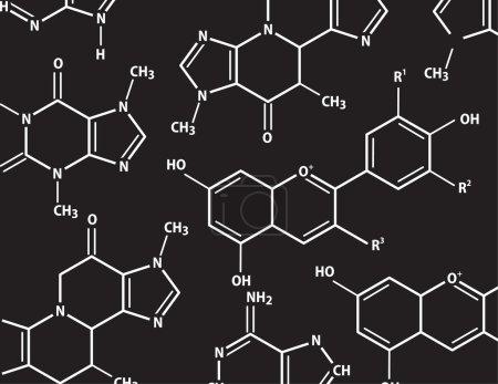 Chemistry formulas. Simple vector background.
