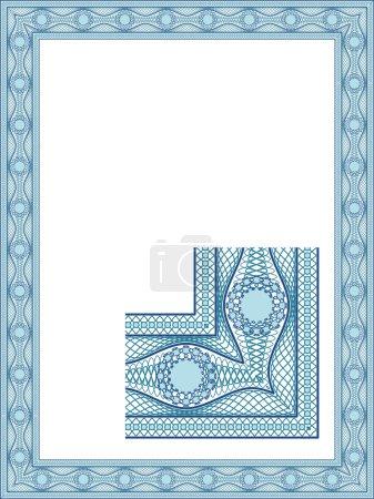 Illustration pour Frontière guilloché classique pour le diplôme ou certificat - image libre de droit