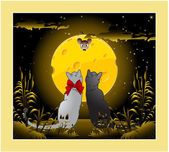 Vector picture of cats with full moon cheese mouse