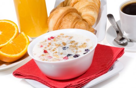Photo for Breakfast with muesli, croissants, coffee, orange juice, - Royalty Free Image