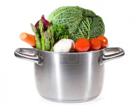 Pan with fresh vegetables for soup