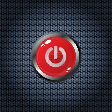 Illustration for Red power button on carbon fiber texture - Royalty Free Image