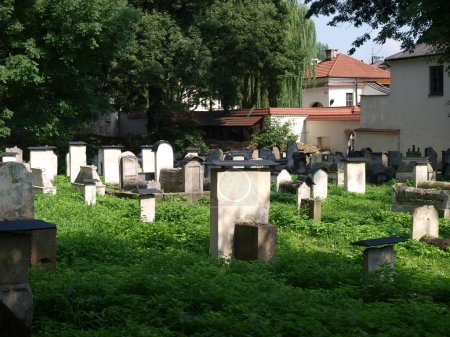 Photo for The Remuh Cemetery in Krakow, Poland, is a Jewish cemetery established in 1535. It is located beside the Remuh Synagogue - Royalty Free Image