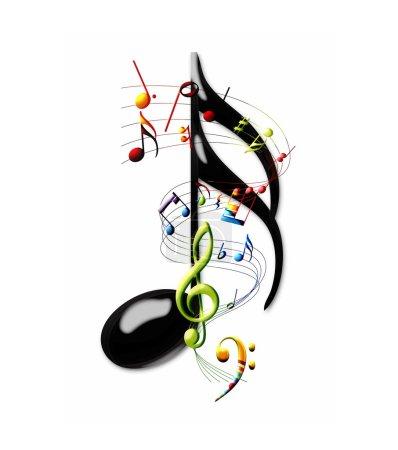 Photo pour Les notes de musique multicolores et personnel tourbillonnant autour d'une double croche - image libre de droit