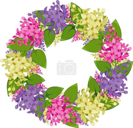 Illustration pour Couronne vectorielle de brindilles de lilas. SPE 8, AI, JPEG - image libre de droit