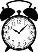 Classic alarm clock Silhouette black on white EPS 8 AI JPEG